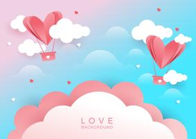Hearts flying on pink background