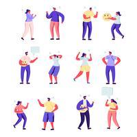 Conjunto de personas planas personajes de expresión enojada vector