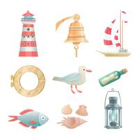 Cartoon  nautical elements set
