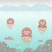 Snow Monkeys sitting in lake vector
