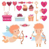 Decor set for Valentines day vector