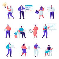 Set of flat business office people characters