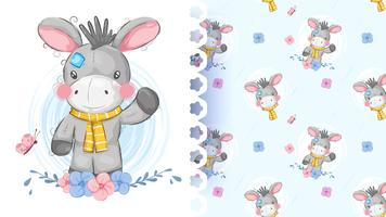 Cute teddy donkey seamless pattern vector