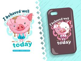 Drawing of cute piggy perfect idea for phone case