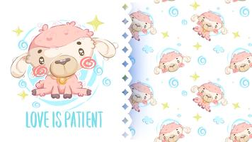 Cute drawing of short hair sheep with pattern background