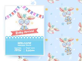Cute donkey baby card and seamless pattern vector