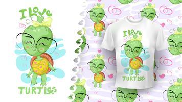 Tekening van schattige schildpad perfect idee voor shirt en patroon