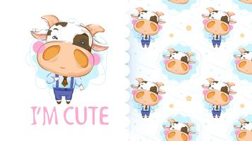 Cute little cow with seamless pattern vector