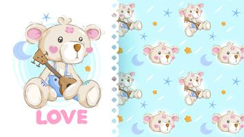 Hand drawn lovely bear with pattern