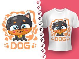 Zeichnung der niedlichen Hundeperfektidee für T-Shirt