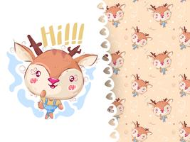 Pretty deer hand drawn animal and pattern vector