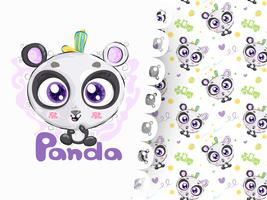 Panda lindo dibujado a mano con patrón