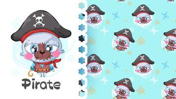 Gato bonito pequeno desenho animado pirata