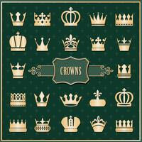 Gold crown icons set on damask vector