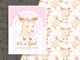 Baby shower invitation with deer and pattern