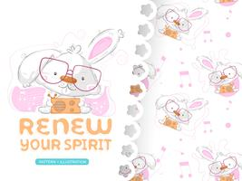 Drawing of cute rabbit with pattern set vector