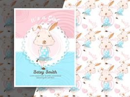 Vintage baby shower invitation with rabbit pattern vector