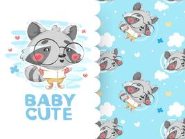 Drawing cute raccoon with glasses and background pattern
