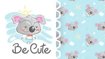 Söt koala kostym med bakgrundsmönster