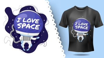 Lovely hand drawn astronaut character idea for print t-shirt