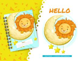 Cute lion idea for cover notebook and pattern background