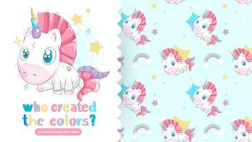 Drawing of beautiful unicorn with patterns background
