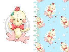 Cute teddy chicken seamless pattern