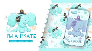 Cute pirate elephant idea for print phone case and pattern background