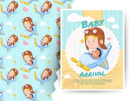 Little boy riding air plane toy. Baby arrival card and pattern