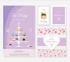 Cute templates with cupcakes stand and sweets.
