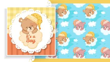 Party banner with teddy bear