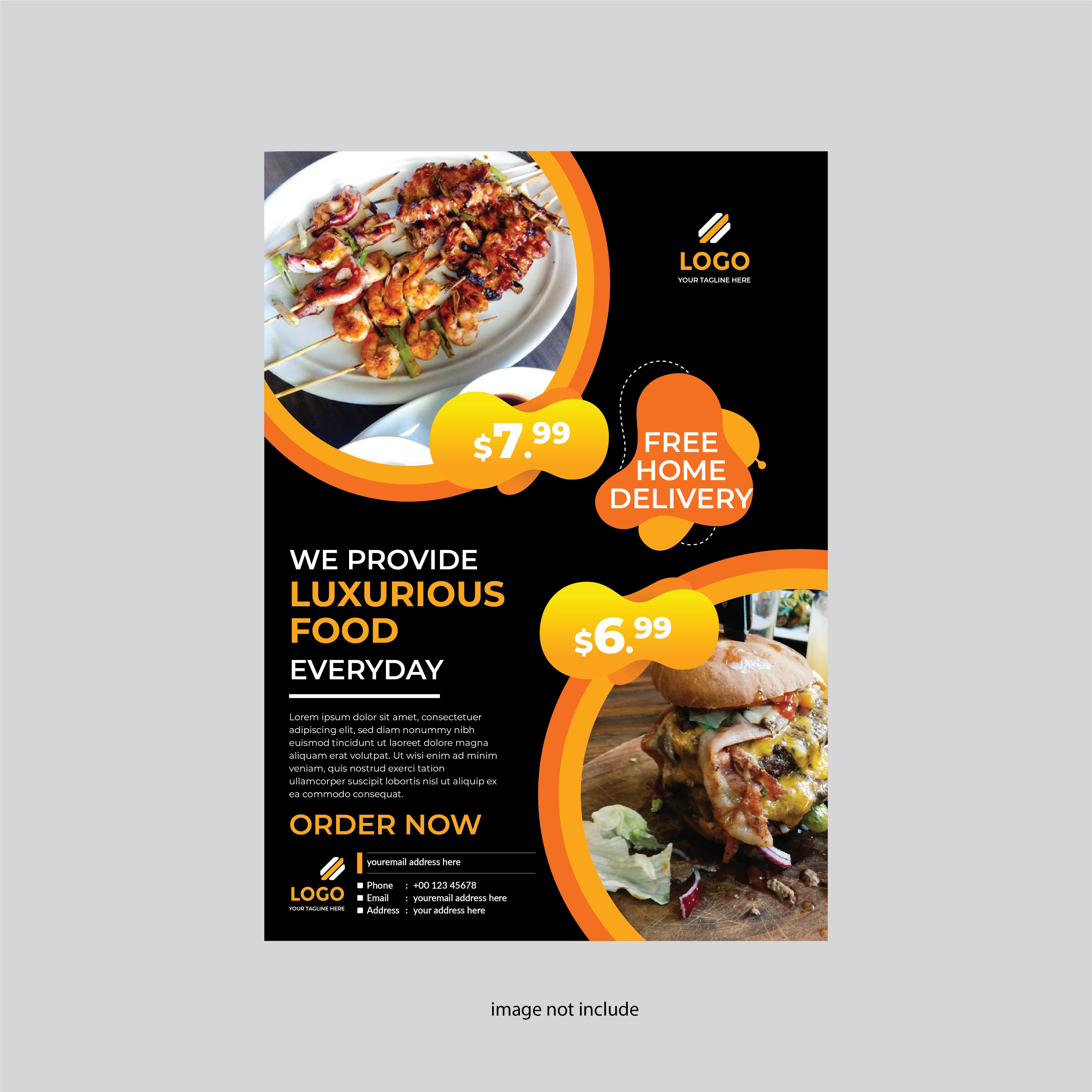 Restaurant Flyer Modern Design Yellow And Black Color Download Free Vectors Clipart Graphics Vector Art