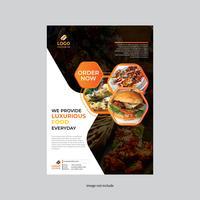 panfleto de restaurante amarelo e preto design moderno