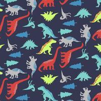 Dibujado a mano patrón de dinosaurio de forma audaz vector