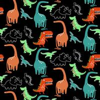 Hand drawn bright cartoon dinosaur pattern