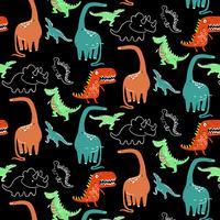 Handritad ljus tecknad dinosaurimönster
