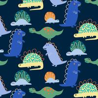 Hand drawn silly bold shapes dinosaur pattern vector
