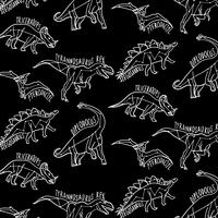 Hand drawn white outline dinosaurs with labels pattern vector
