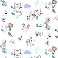 Hand drawn baby cats in spring pattern