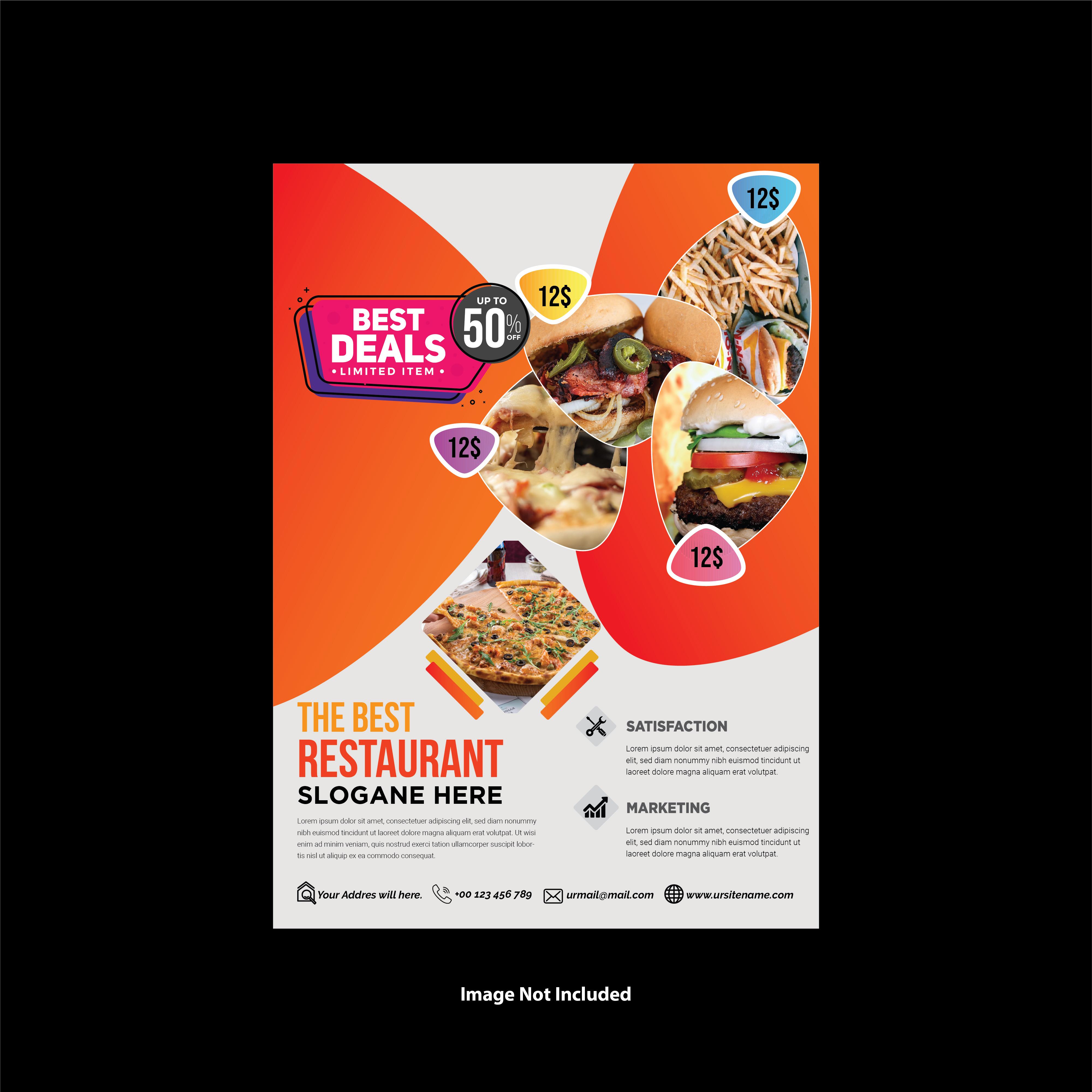 Modern Restaurant Flyer Design Orange Color Download Free Vectors Clipart Graphics Vector Art