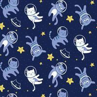 Hand drawn cats in space pattern
