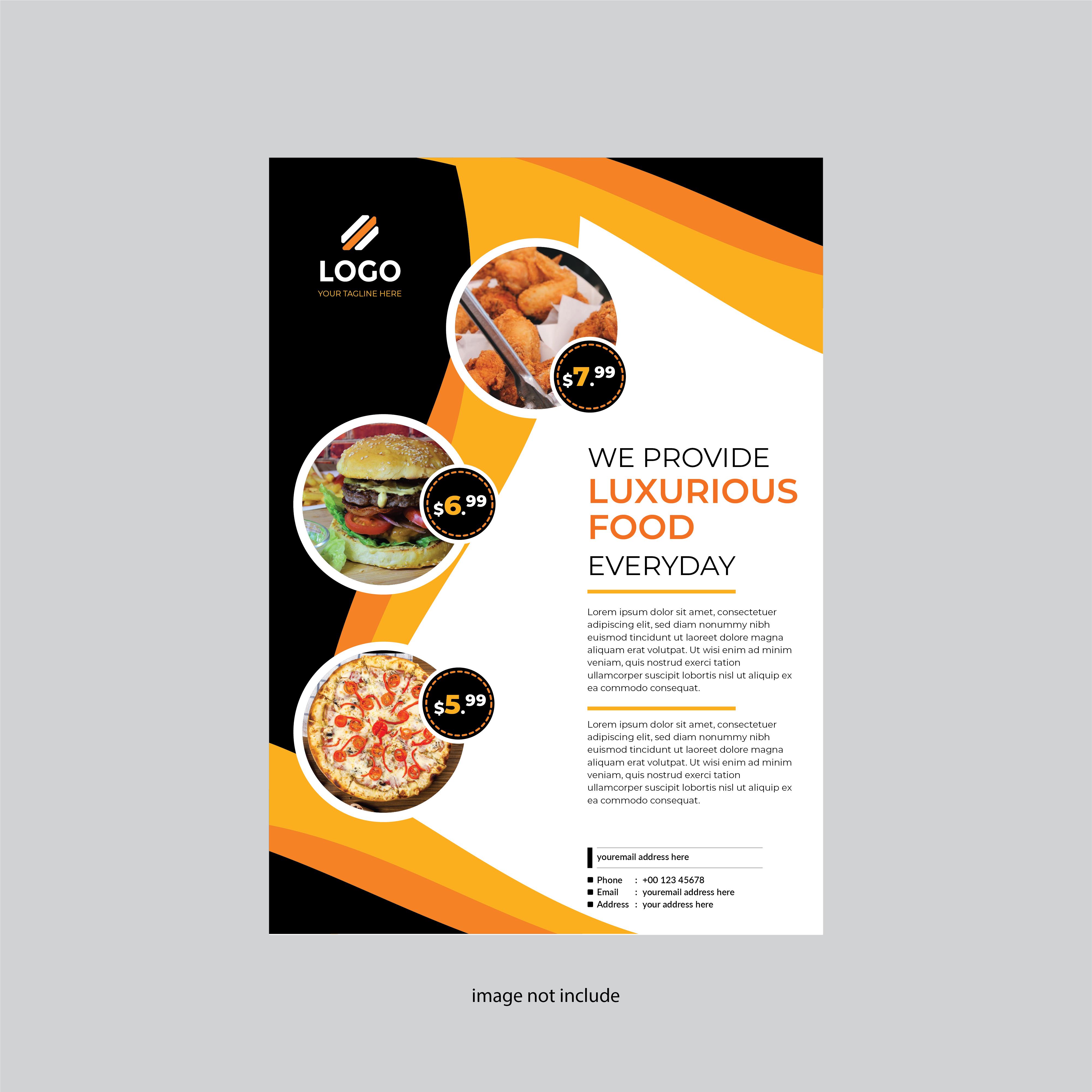 Simple And Modern Restaurant Flyer Design Orange Color Download Free Vectors Clipart Graphics Vector Art