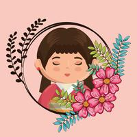 kawaii japanese girl with flowers character