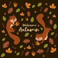 Squirrely iLlustration With Leafs And Nuts Oak Pattern For Autumn