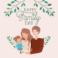 family day card with parents and son