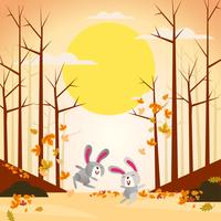 Illustration of two cute and funny rabbits playing in autumn fall season