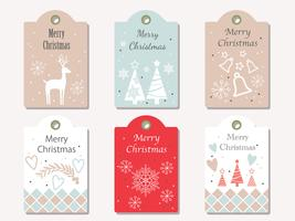 Christmas vector gift tags set isolated on a plain background.