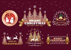 Set of Christmas emblems or badges or labels.