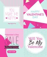 Four Valentine's Day Card Design Layout Template With Cute Pink And Tosca Blue Color
