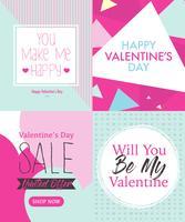 Vier Valentijnsdag kaart ontwerp lay-out sjabloon met schattige roze en Tosca blauwe kleur